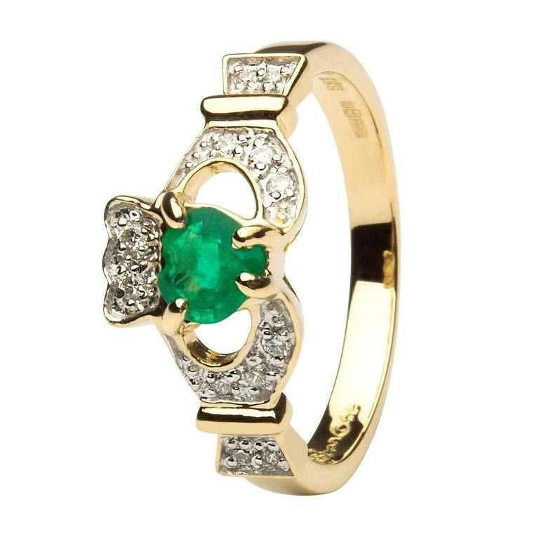 Ladies Claddagh Emerald And Diamond Set 14L68Ed
