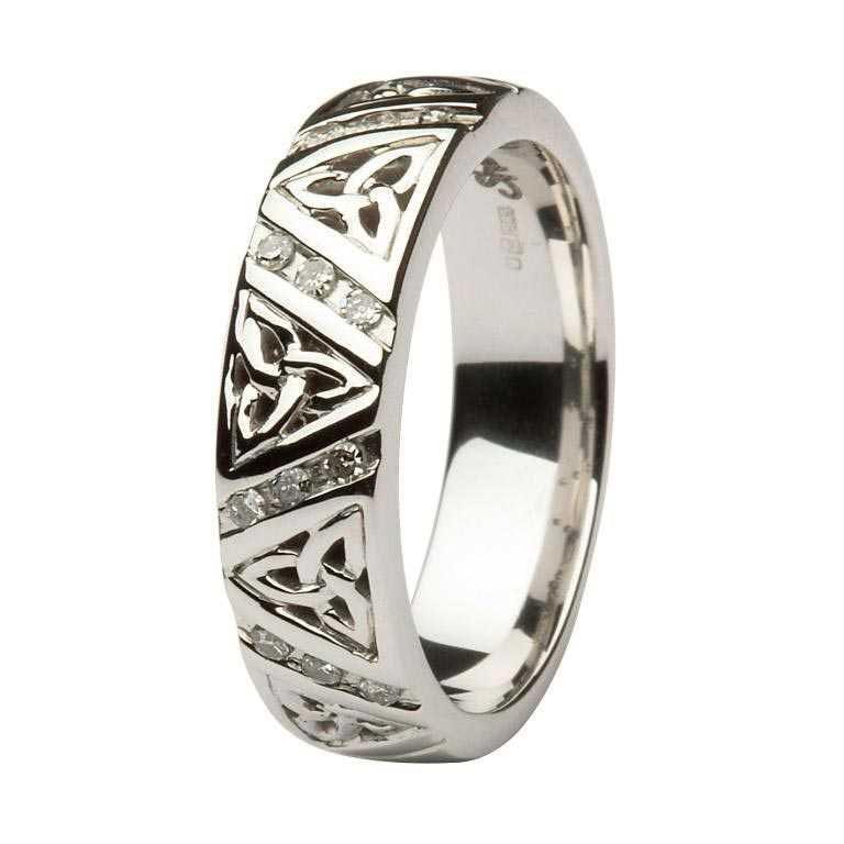 Ladies Diamond Wedding Ring With Trinity Knots 14Ic23W