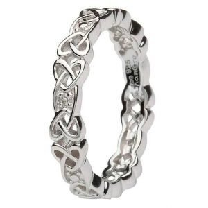 Ladies Silver Celtic Knot Stone Set Ring Sd12