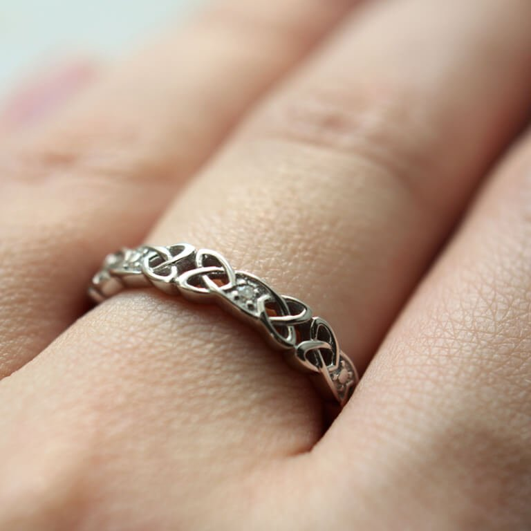 Ladies Silver Celtic Knot Stone Set Ring Sd12_2