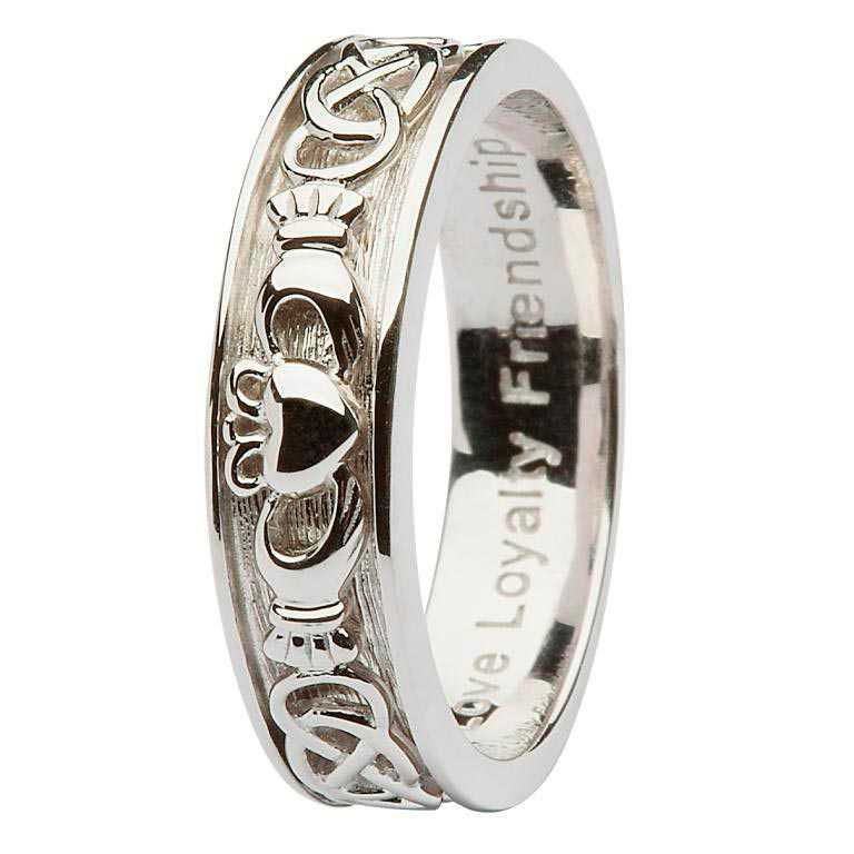 Ladies Silver Claddagh Celtic Wedding Ring Sd8