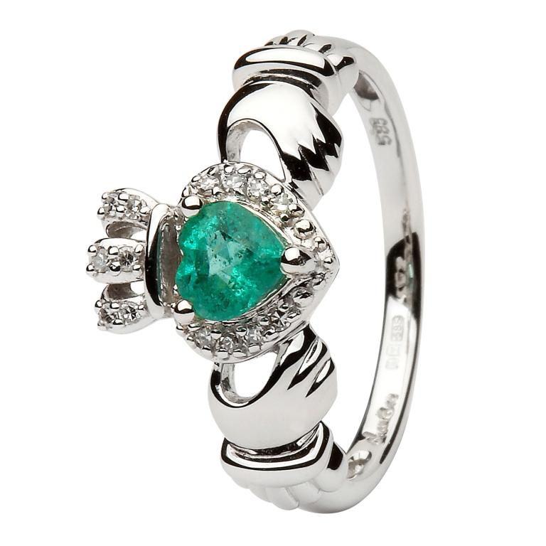 Ladies White Gold Claddagh Ring Set With Emerald And Diamond 14L82W