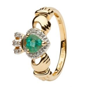 Ladies Yellow Gold Claddagh Ring Set With Emerald And Diamond 14L82