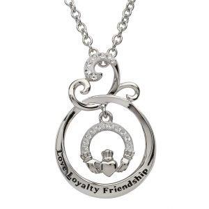 Love Loyalty Friendship Claddagh Pendant Encrusted With Swarovski Crystal Sw90
