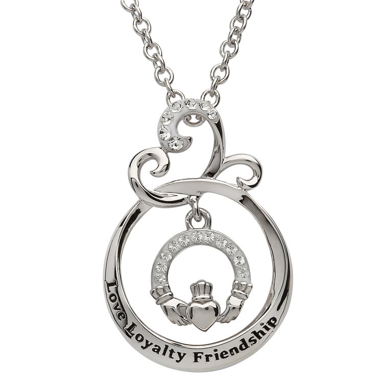Love Loyalty Friendship Claddagh Pendant Encrusted With Crystal Sw90