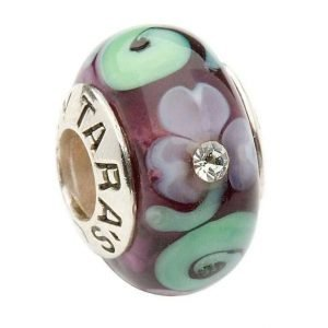 Murano Shamrock And Spiral Silver Purple Bead Td89