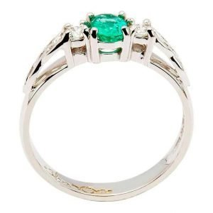 Oval Emerald And Diamond Celtic Trinity 14K White Gold 3 Stone 14Rc3St Wed Oval_2