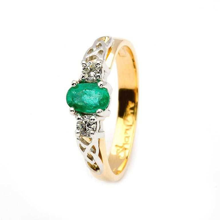 Oval Emerald And Diamond Celtic Trinity 14K Yellow And White Gold 3 Stone 14Rc3St Ed Oval