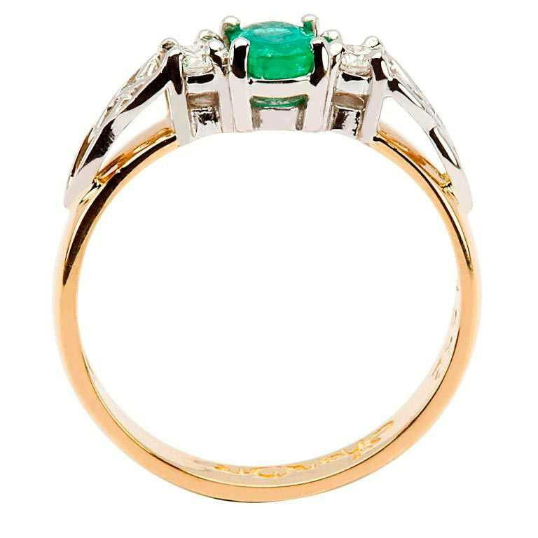 Oval Emerald And Diamond Celtic Trinity 14K Yellow And White Gold 3 Stone 14Rc3St Ed Oval_2