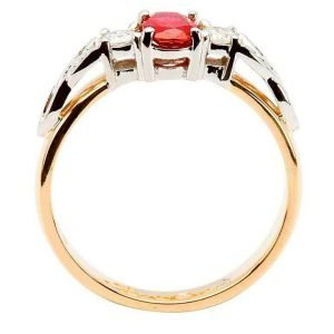 Oval Ruby And Diamond Celtic Trinity 14K Yellow And White Gold 3 Stone 14Rc3St Rd Oval_2
