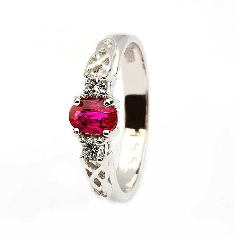 Oval Ruby And Diamond Celtic Trinity Yellow And White Gold 3 Stone 14Rc3St Wrd Oval