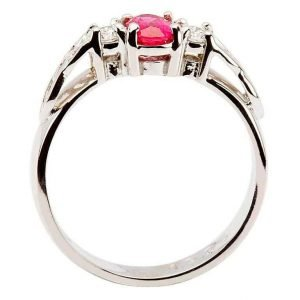 Oval Ruby And Diamond Celtic Trinity Yellow And White Gold 3 Stone 14Rc3St Wrd Oval_2
