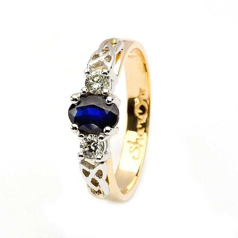 Oval Sapphire And Diamond Celtic Trinity 14K Yellow And White Gold 3 Stone 14Rc3St Sd Oval