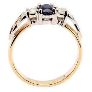 Oval Sapphire And Diamond Celtic Trinity 14K Yellow And White Gold 3 Stone 14Rc3St Sd Oval_2