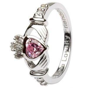 Claddagh Birthstone Ring October: Pink Cz Sl90Pcz
