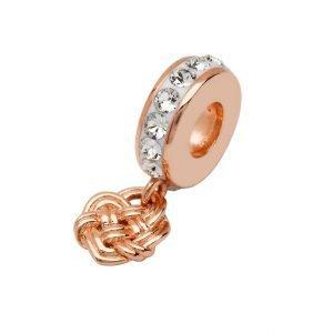 Rose Gold Silver Celtic Drop Bead Adorned With Swarovski Crystal Td253