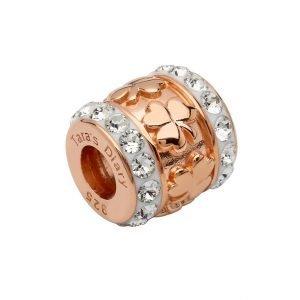 Rose Gold Silver Shamrock Bead Encrusted With Swarovski Crystal Td249