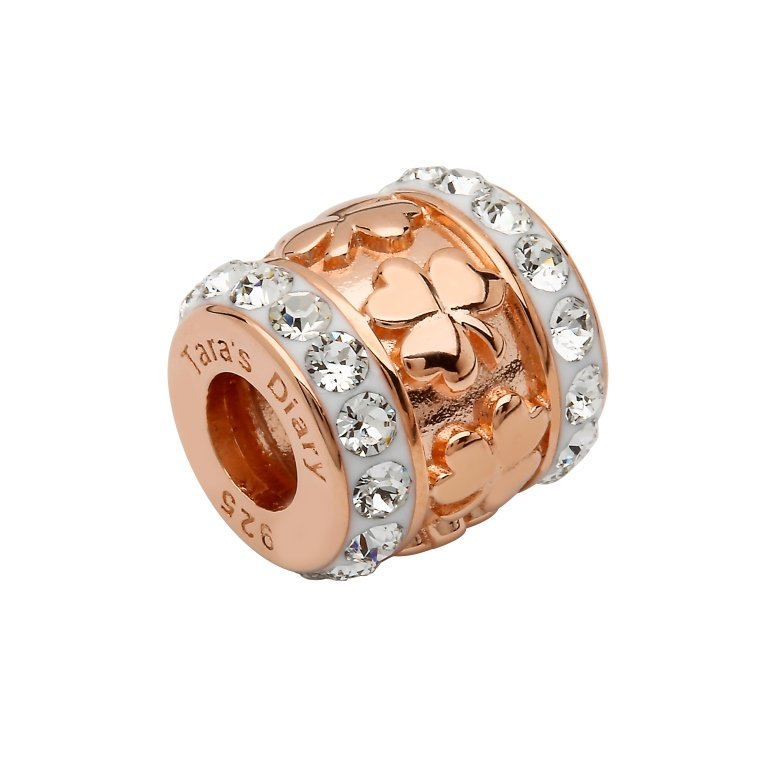 Rose Gold Silver Shamrock Bead Encrusted With Crystal Td249