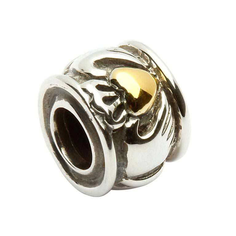 Round Silver Claddagh Bead With Gold Plate Heart Td46