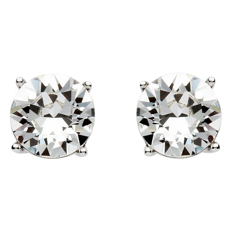 Round Silver Stud Earring Set With White Crystal St23
