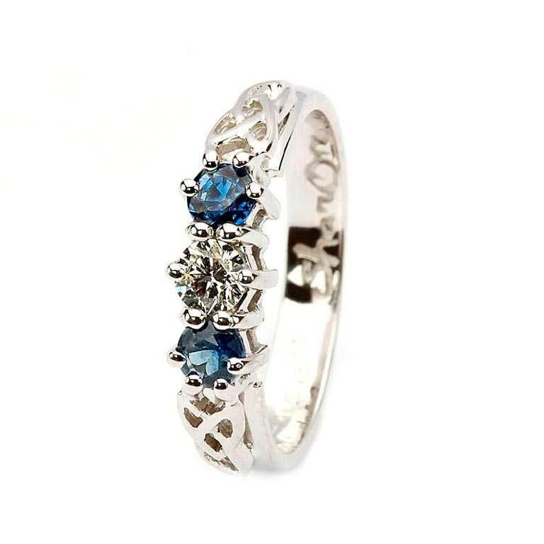 Sapphire And Diamond Celtic Ring 14K White Gold 3 Stone 14Rc3Stwsd