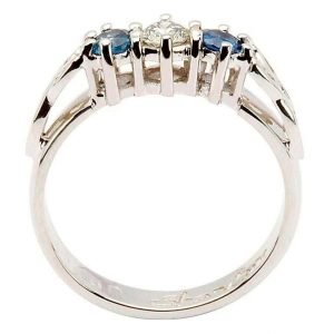 Sapphire And Diamond Celtic Ring 14K White Gold 3 Stone 14Rc3Stwsd_2