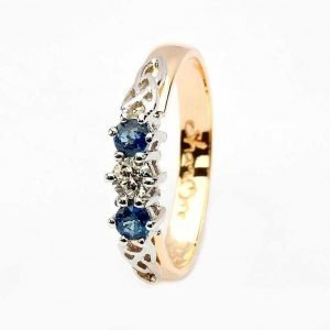 Sapphire And Diamond Celtic Ring 14K Yellow And White Gold 3 Stone 14Rc3Stsd