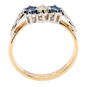 Sapphire And Diamond Celtic Ring 14K Yellow And White Gold 3 Stone 14Rc3Stsd_2