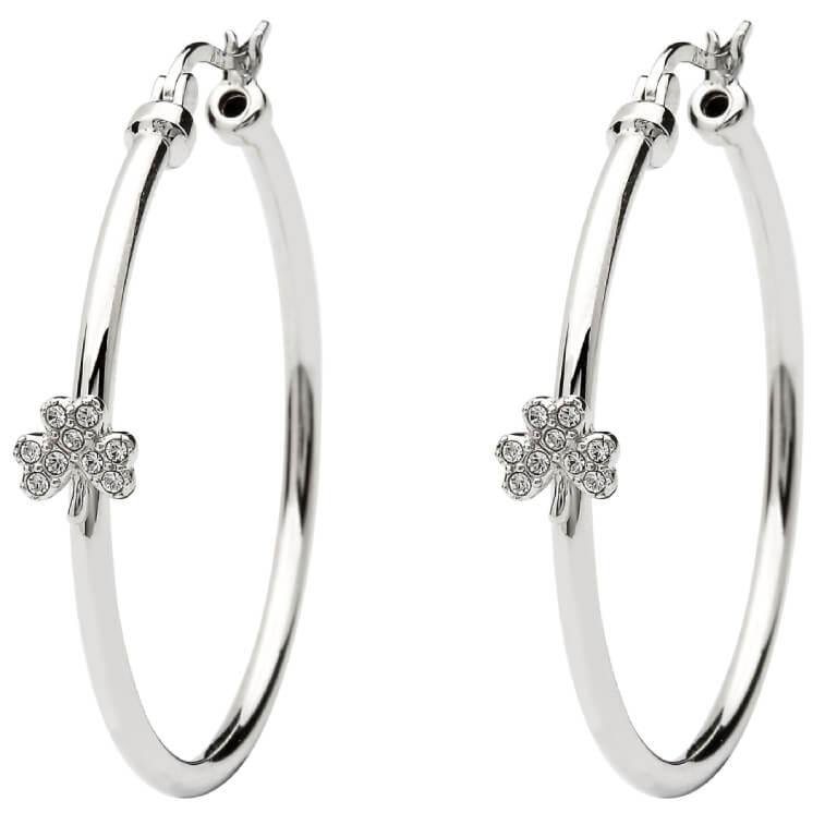 Shamrock Sterling Silver Hoop Earrings Adorned With Swarovski Crystals Sw164