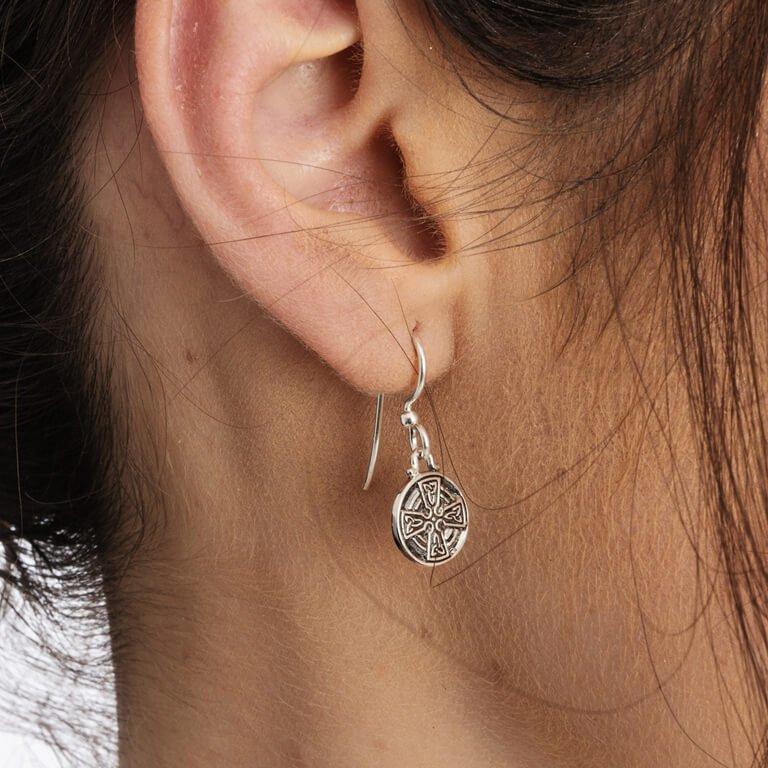 Silver Celtic Cross Earrings Se2228_2