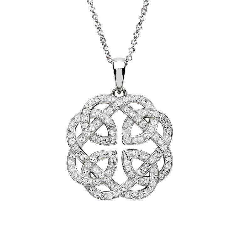 Silver Celtic Design Pendant Adorned With Swarovski Crystals Sw133