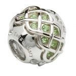 Silver Celtic Intricate Knot Bead Encrusted With Peridot Swarovski Crystals Td235 - Gallery Thumbnail Image