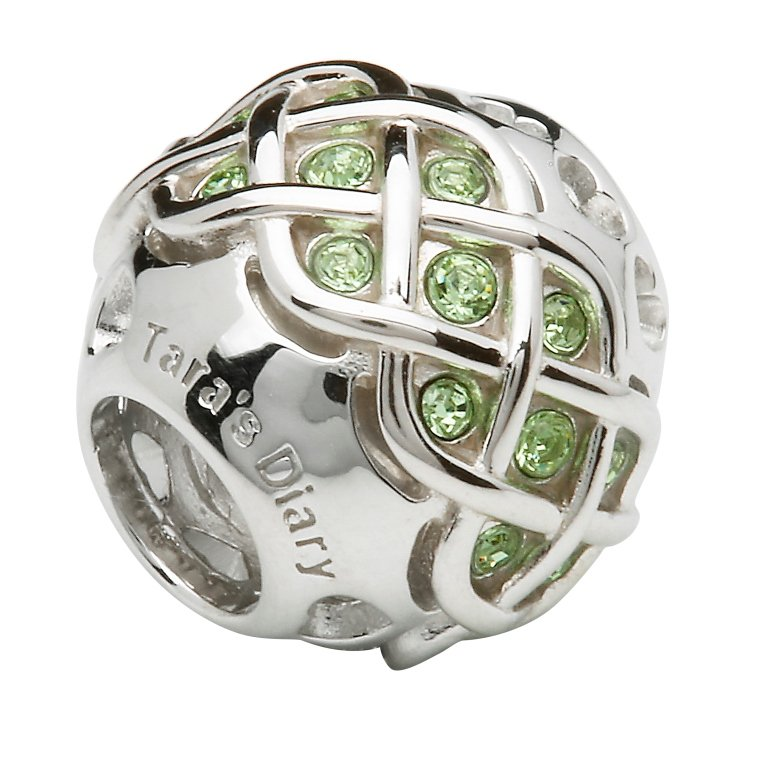 Silver Celtic Intricate Knot Bead Encrusted With Peridot Swarovski Crystals Td235