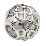 Silver Celtic Intricate Knot Bead Encrusted With White Swarovski Crystals Td234 - Gallery Thumbnail Image