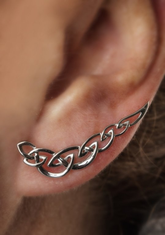 Silver Celtic Knot Climber Earrings Sw79_2