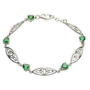 Silver Celtic Stone Set Trinity Bracelet Sb2018Gr