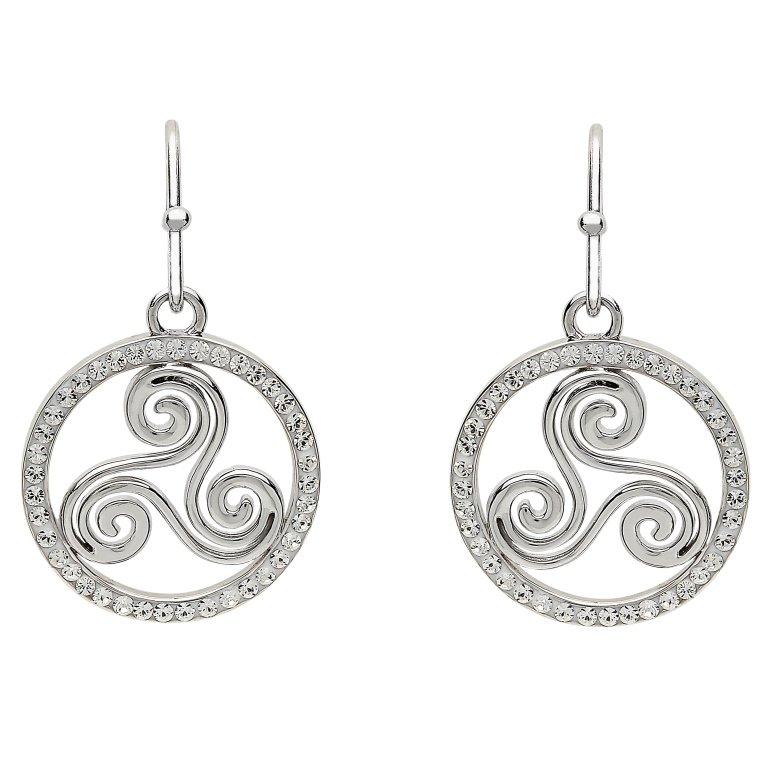 Silver Celtic Swirl Earrings Encrusted With White Swarovski Crystal Sw76