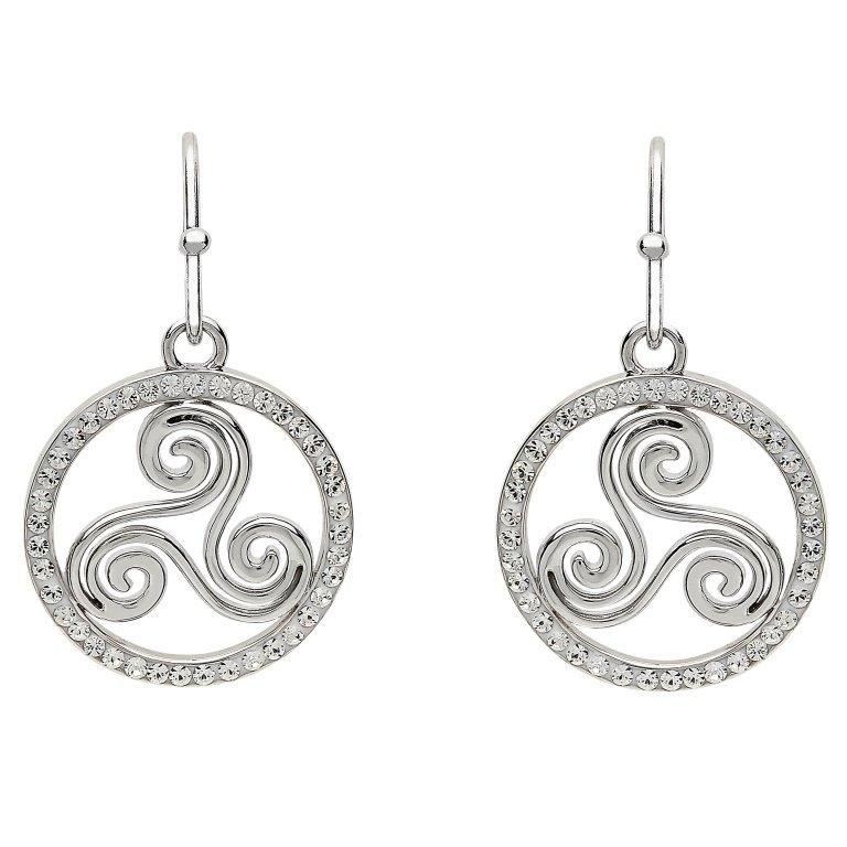 Silver Celtic Swirl Earrings Encrusted With White Swarovski Crystal Sw76