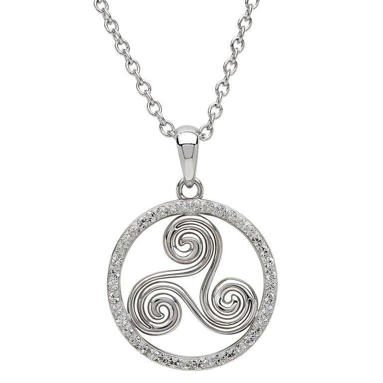 Silver Celtic Swirl Encrusted With White Swarovski Crystal Sw75
