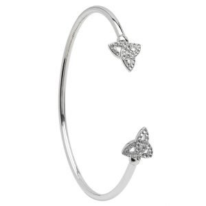 Silver Celtic Trinity Bangle Adorned With Swarovski Crystal Sw70