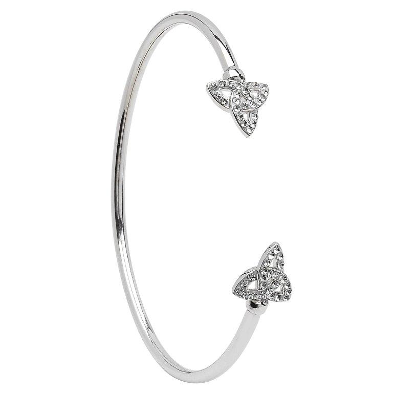 Silver Celtic Trinity Bangle Adorned With Swarovski Crystal Sw70