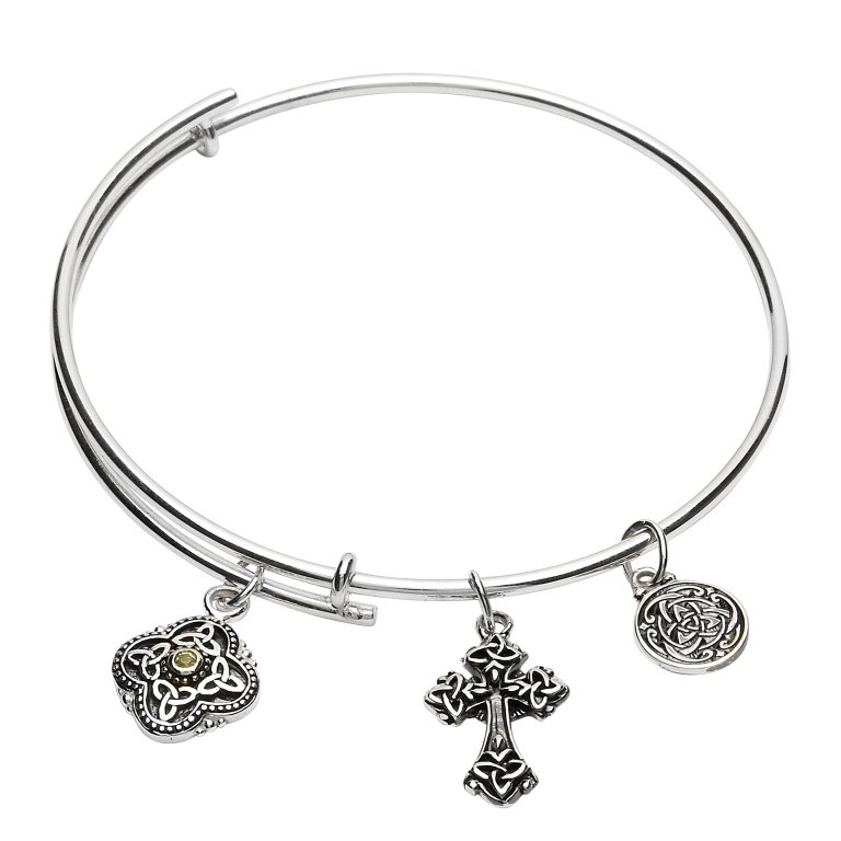 Silver Celtic Trinity Bracelet Bangle Sb2212Pt