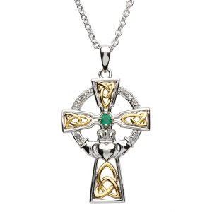 Silver Celtic Trinity Cross Set With Emerald And Diamond Sf32