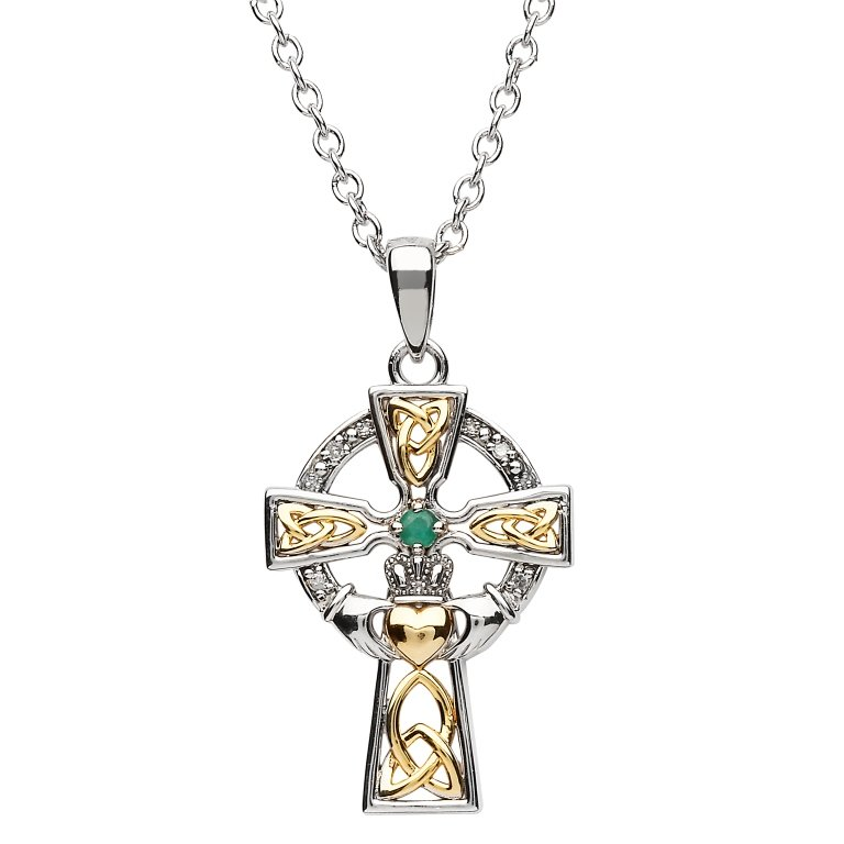 Silver Celtic Trinity Cross Set With Emerald And Diamond Medium Size Sf34