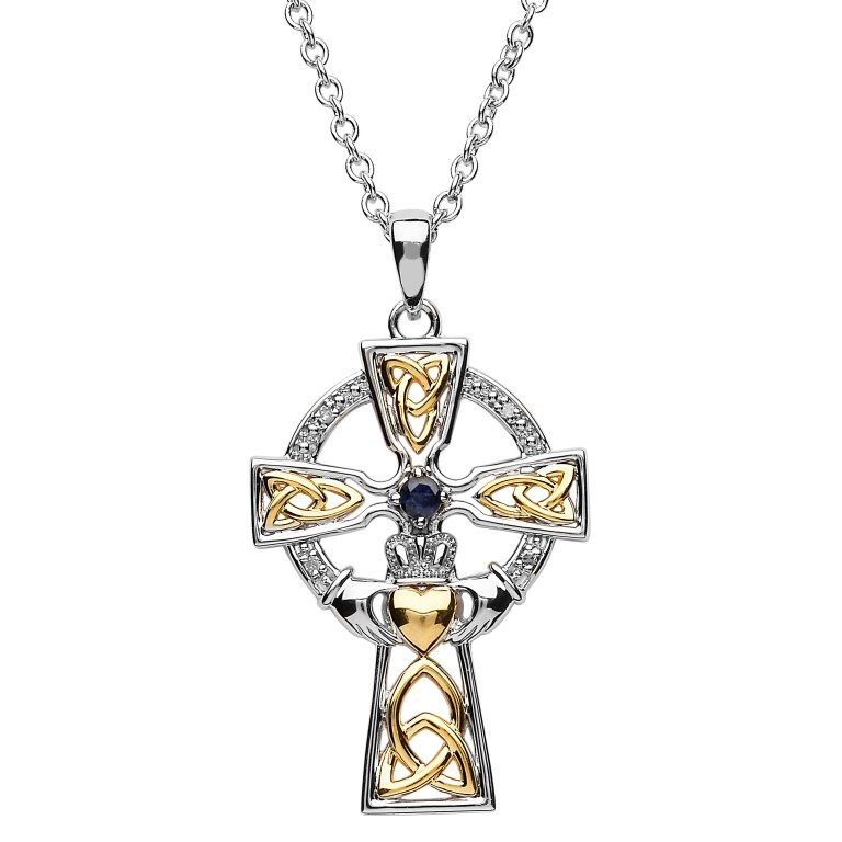 Silver Celtic Trinity Cross Set With Sapphire And Diamond Sf33