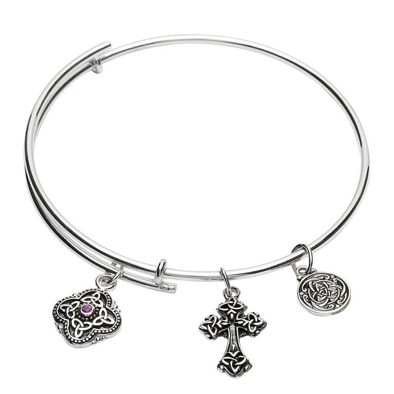 Silver Celtic Trinity Knot Bracelet Bangle Sb2212Ay