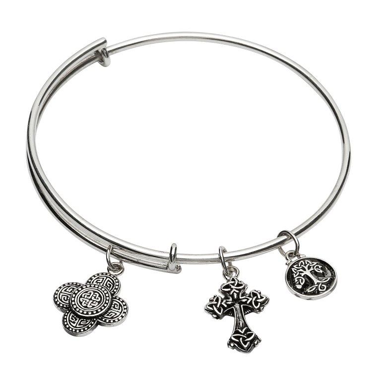 Silver Celtic Trinity Knot Bracelet Bangle Sb2217