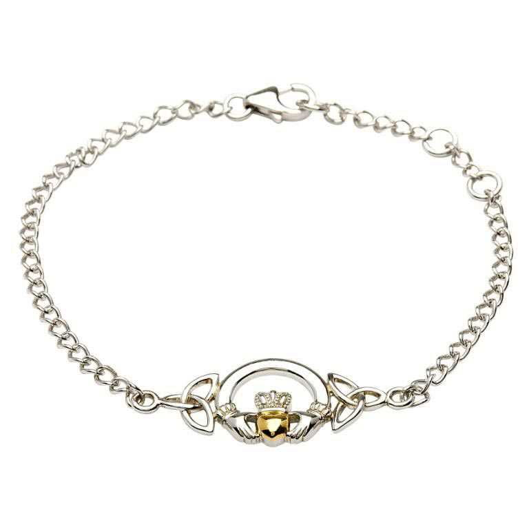 Silver Claddagh Bracelet With 14K Gold Plate Heart Sb2015