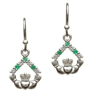 Silver Claddagh Cz Stone Set Earrings Se2050
