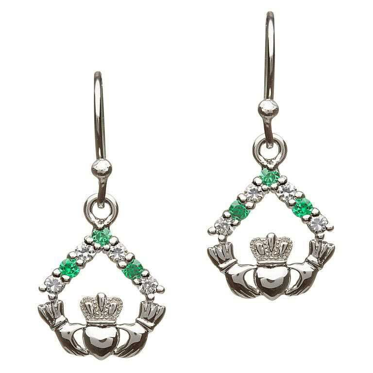 Silver Claddagh Cz Stone Set Earrings Se2050